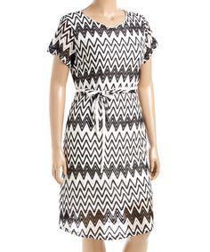Look what I found on #zulily! Black & White Chevron Tie-Waist Cap-Sleeve Dress - Plus by Jessica Taylor #zulilyfinds