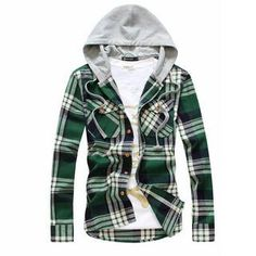 Long-sleeved Hooded Plaid Shirt from #YesStyle <3 MR.ZERO YesStyle.com
