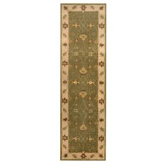 Herat Oriental Indo Hand-tufted Mahal Green/ Ivory Wool Rug (2'4 x 8'1)
