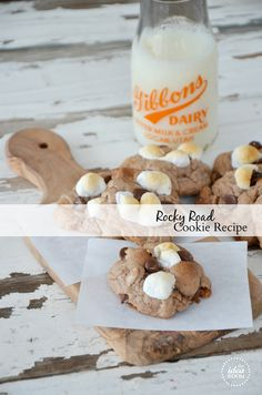 I actually posting this because the milk bottle has my last name on it!!!  Rocky Road Cookies