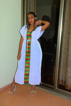 Habesha Kemis, Ethiopian Jewelry, Ethiopian Dress, Nice Dresses, Summer Dresses, Cute Gifts, Shirt Style, African Bracelets, Beaded Sandals