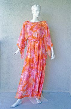 """Michael Kors Runway """"Van Gogh"""" Silk Caftan Dress 