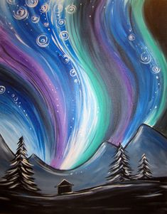 Northern Lights - Muse Paintbar Events   Painting Classes   Painting Calendar   Paint and Wine Classes #canvaspaintingideas
