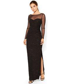 Lauren Ralph Lauren Long-Sleeve Sequined Illusion Gown - Dresses - Women - Macy's