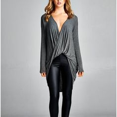 Twist Front Top Grey twist front high low top. Brand new. True to size. NO TRADES. Bare Anthology Tops Tees - Long Sleeve