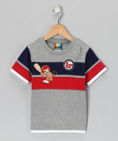 Take a look at this Gray Baseball Monkey Tee - Infant & Toddler by Lazoo on #zulily today!