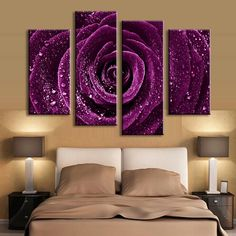 HD Printed Canvas Poster Frame Home Decor Living Room Wall Art 4 Pieces Purple Rose Flower Raindrops Painting Modular Pictures Purple Rooms, Purple Walls, Wall Art Pictures, Canvas Pictures, Painting Pictures, Canvas Poster, Canvas Wall Art, Painting Canvas, Living Room Canvas Art