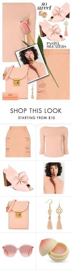 """""""Peach Pastel"""" by shoaleh-nia ❤ liked on Polyvore featuring Roberto Collina, Avec Les Filles, Forever 21, Mark Cross, Gucci, TONYMOLY and Salvatore Ferragamo"""