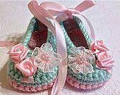 Crochet Ballet Slipper  Booties in Mint Green and Pink , Crochet Baby Booties, New Baby Girl Gift