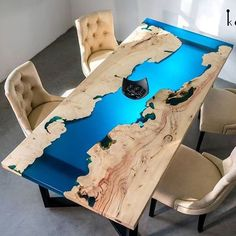 37 Stunning Resin Wood Table Design Ideas You Will Love - For several reasons, resin furniture has become a popular alternative to wooden furniture created for outdoor use. It looks similar to painted wood, b. Diy Resin River Table, Epoxy Wood Table, Epoxy Resin Wood, Diy Epoxy, Resin Furniture, Woodworking Furniture, Woodworking Crafts, Woodworking Plans, Woodworking Classes