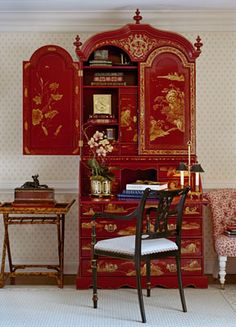 Red and gold chinoiserie secretary with small bamboo table -   Cindy Rinfret, Rinfret, Ltd.