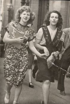 """My mom and a friend on a Saturday shopping trip. They lived in North Vancouver and had taken the ferry over to town to buy some records at Kellys."""