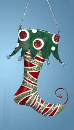 Elf Curly Toe Stocking | ... Christmas Brights Whimsical Green Elf Stocking Holiday Ornament 5.5