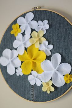 """Denim and Felt Floral Hoop - Do Small Things with Love use jeans scraps, apply felt flowers or """"fun fabric flowers"""", stretch & staple to old frames Cute Crafts, Crafts To Do, Felt Crafts, Fabric Crafts, Sewing Crafts, Felt Flowers, Fabric Flowers, Diy Projects To Try, Craft Projects"""