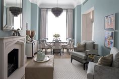 The Bromptons Dining Room and Living Room: Luxury Interior Design by Roselind Wilson Design Living Room Decor Colors, Coastal Living Rooms, Living Room Paint, Living Room Grey, Living Room Interior, Living Room Designs, Interior Design London, Luxury Interior Design, Interior Architecture