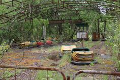Pripyat, a city in Ukraine, was totally abandoned after the nearby Chernobyl nuclear disaster in 1986.  Due to radiation, it has been left untouched ever since the incident and propably will be for many thousands of years into the future.  Nature now rules the city, which looks like taken from apocalyptic horror movie.