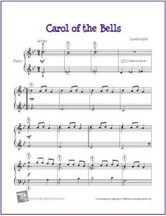 Carol of the Bells (Christmas) | Free Sheet Music for Easy Piano - http://makingmusicfun.net/htm/f_printit_free_printable_sheet_music/carol-of-the-bells.htm