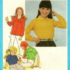 Girls Shirt Pattern with Sleeve, Tuck/Gather & Collar Variations