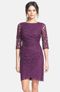 Free shipping and returns on Adrianna Papell Zip Detail Ruched Lace Sheath Dress at Nordstrom.com. Waist-defining ruching is swept to one side and secured with a zipper on this lovely lace sheath dress further detailed with sheer three-quarter sleeves and a leg-framing wrap-style hem.