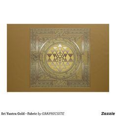 Shop Sri Yantra Gold - Fabric created by GRAPHICSITE. Sri Yantra, Gold Fabric, Pigment Ink, Custom Fabric, Crafts To Make, Printing On Fabric, Vintage World Maps, Applique