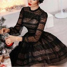 O neck Full sleeves Lace insert Scalloped lace Slit detail at back Stretch Type: Stretchy Length: Ma Pretty Dresses, Beautiful Dresses, Lace Dress, Dress Up, Vetement Fashion, Casual Party, Chic Outfits, Beach Outfits, Dress To Impress