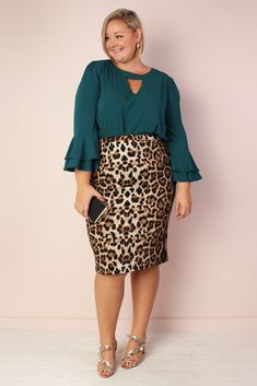 Luna Super Stretch Pencil Skirt - Leopard