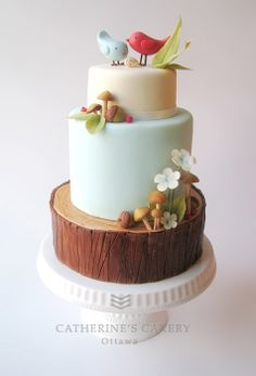 super cute bird/woodland cake