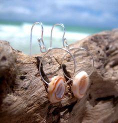 Hawaiian Authentic Puka Shells on 925 Sterling Silver Circular Wire Small Hoop Earrings by LindseysBeachGlass, $40.00