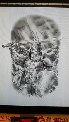 Putting stuff together for this Skanderbeg Tattoo design