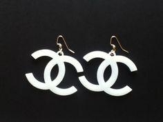 White Acrylic Coco Chanel Earrings