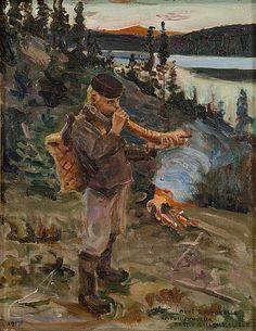 Paanajärven paimenpoika, 1917. Gallen-Kallelan itsensä maalaama toinen versio vuoden 1892 tunnetusta teoksestaan.