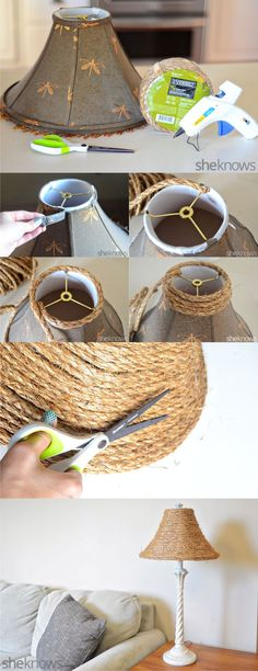 Nuevo aspecto a vieja lámpara con cuerda - sheknows.com - DIY Rope -new life to a boring old lamp shade