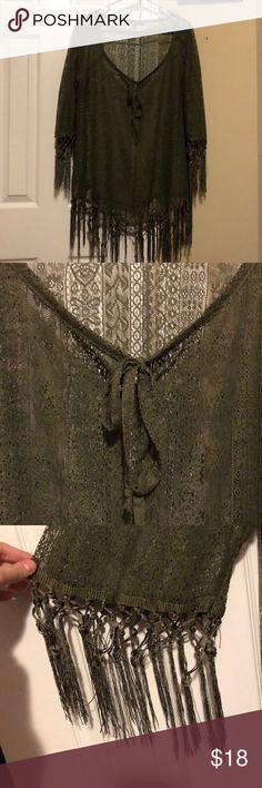 Camo green lace fringe top Camo green lace fringe top. Sleeves are quarter length. V neck Tops Blouses