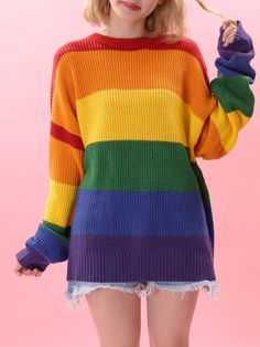 Rainbow Fashion: A Complete List of Rainbow Items, Clothing, and Accessories - An amazing selection of fashion clothes and accessories with the theme we have loved most: rainbows - Kawaii Fashion, Cute Fashion, Fashion Outfits, Womens Fashion, Knit Fashion, Fashion Clothes, Fashion Fashion, Rainbow Outfit, Rainbow Fashion