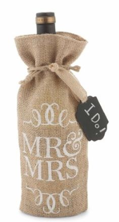 Add to the decor by bringing a Mrs. and Mrs. wine gift bag