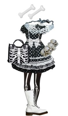 """""""Black and White Creepy Cute"""" by stitchwork-panda ❤ liked on Polyvore"""