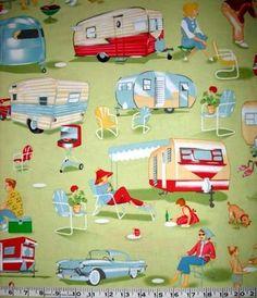 TRAILER TRAVEL Fabric 2FQs = ½ yard Caravan Air Stream Retro Michael Miller | eBay