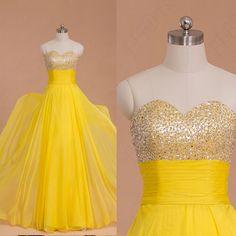 beaded yellow chiffon long prom dresses evening