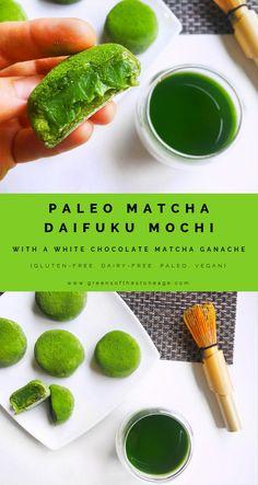 These Paleo Matcha Daifuku Mochi are 100% grain-free and filled with a gorgeously glossy vegan White Chocolate Matcha Ganache. Made with @matchaeologist Matsu Ceremonial Matcha.