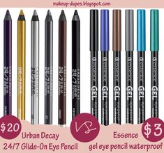 Urban Decay Glide on Eye Pencil Dupe I wish my drugstores sell more essence Urban Decay Eyeliner, Urban Decay Makeup, Urban Decay Dupes, Eyeshadow Dupes, Lipstick Dupes, Essence Cosmetics, Essence Makeup, Nyx Cosmetics, Make Up Dupes