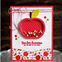 I have another Fruit Basket Shaker Card To share this time! This one uses another shaker apple and the cute matchin. Scrapbooking, Scrapbook Paper Crafts, Scrapbook Cards, Teacher Thank You Cards, Teacher Gifts, Fruit Packaging, Shaker Cards, Scrapbook Embellishments, Card Sketches