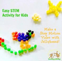 Stop motion video with Jelly Beans. And a phone app. It's easy! Kids will have a blast making their own stop motion videos using household objects! Stop Motion App, Motion Video, Stem Projects For Kids, Easter Crafts For Kids, Easter Activities, Activities For Kids, Coding Apps For Kids, How To Make Animations, It's Easy