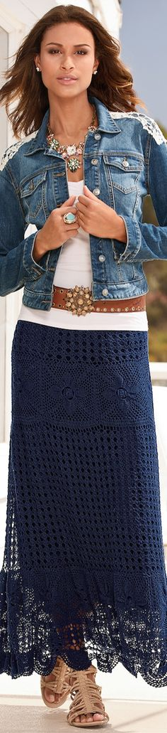 ideas crochet skirt boho white lace for 2019 Crochet Skirt Outfit, Crochet Skirts, Crochet Lace, Crochet Summer, Denim And Lace, Bohemian Mode, Boho Chic, Boho Style, Fashion Over 50