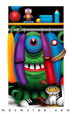 monster hiding in the closet Monster Decorations, Funny Monsters, Little Monsters, Scary, Backdrops, Disney Characters, Fictional Characters, Stool, Mac