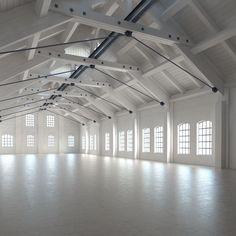 Warehouse Home, Warehouse Design, Dance Studio Design, Dance Rooms, Steel Trusses, Home Studio Music, Industrial Architecture, Urban Loft, Industrial House