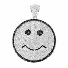 White Gold Tone Smiley Face Lab Diamond Round Pendant   Masterofbling