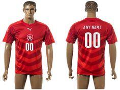 2016 European Cup Czech Home Custom Red Men's Soccer A+ Shirt