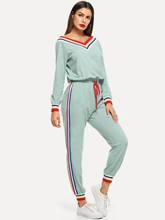 Shop Contrast Striped Trim Drawstring Waist Jumpsuit at ROMWE, discover more fashion styles online. Sporty Outfits, Date Outfits, Fashion Outfits, Romwe, Sport Wear, Drawstring Waist, Fashion News, Fashion Styles, Fashion Sets