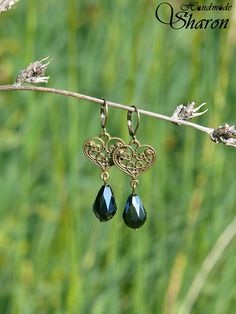 Brass heart filigree earrings with fire polished glass drop