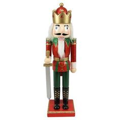 Three Posts Decorative Wooden Red Green and Gold Glittered Christmas Nutcracker King with Sword